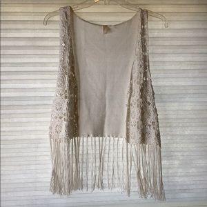 White crochet vest with fringe